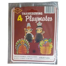 4 Beistle Honeycomb Thanksgiving Holiday Decorations MIP