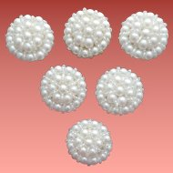 Set of 6 Faux Pearl Button Covers Mint Condition 1985