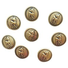 8 Vintage Buttons Fawns Baby Deer in Brass