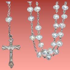 1960s Crystal Rosary AB Cushion Crystals