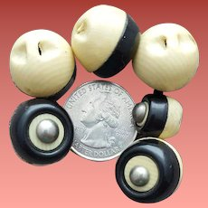 Antique Celluloid Buttons 6 in Black and White