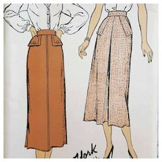 1940s Skirt Sewing Pattern Mint Mid Century waist 24