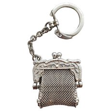 Vintage Key Ring Doll Size Metal Mesh Purse