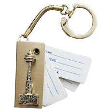 Key Ring With Address Book Seattle World's Fair Space Needle