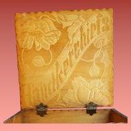 Antique Handkerchief Box Pyrograph 1910
