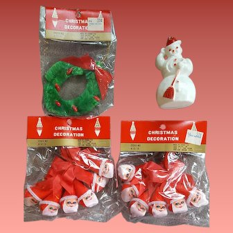 Vintage Christmas Package Decorations Santa Wreath