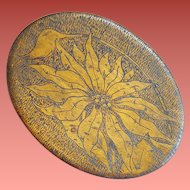 Antique Pyrograph Christmas Jewelry Box Silk Lined