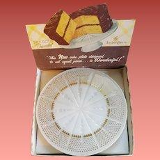 Anchor Hocking Cake Plate Stand MIB 1950s Ivory White