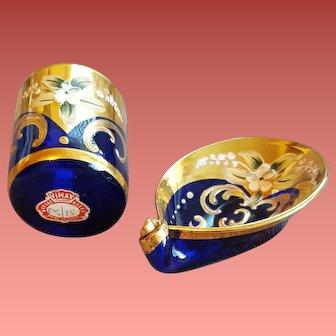 Cobalt Blue Murano Art Glass Hand Painted Italy Vimax