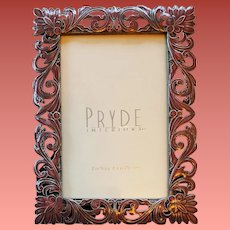 1980s Picture Frame Mauve Enamel and Silver Tone Metal Mint
