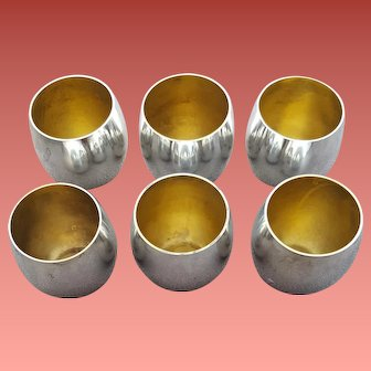 6 Tiffany & Co. Shot Glasses Sterling Silver and Gilt