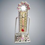Miniature Rhinestone Thermometer Unique 1960s Vanity Item