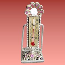 Miniature Rhinestone Thermometer Unique 1960s Vanity Item