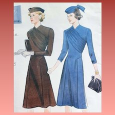 Vintage Vogue 1939 Dress Sewing Pattern US Size 14