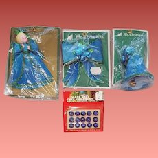 Vintage Christmas Tree Ornaments 1970s Blue