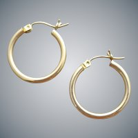 14k Yellow Gold Pierced Hoop Earrings