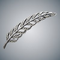 Marcasite Studded Sterling Feather Brooch .925