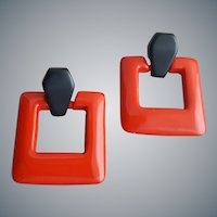 Iconic 1970s Pierced Earrings Black and Red
