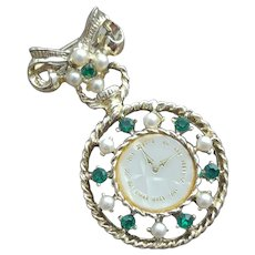Faux Pocket Watch Brooch Rhinestones Fantasy Lapel Pin