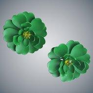 1960s Green Enameled Metal Flower Earrings Pierced