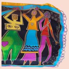 Laurel Burch Silk Scarf Beaded Fringe Art of Human Being