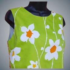 Wild 1960s Cotton Dress Medium Sleeveless Summer