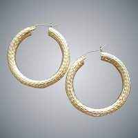 14k Yellow Gold Pierced Earrings Hand Crafted Hoops