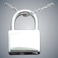 Sterling Silver Figural Padlock Necklace 7.5 Grams