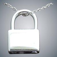 Sterling Silver Figural Padlock Necklace 7.5 Grams