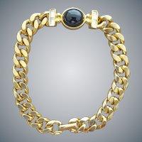Gold Tone Link Bracelet Rhinestones and Faux Onyx