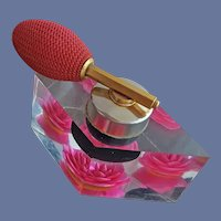Perfume Atomizer Reverse Carved Red Rose Lucite