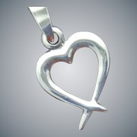 Sterling Silver Open Heart Necklace .925 Chain