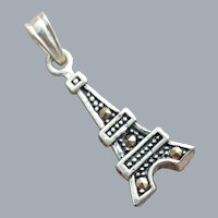 Eiffel Tower Sterling Charm with Marcasites