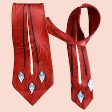 1940s - 1950s Wide Rayon Necktie Art Deco Print