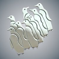 Signed Sterling Brooch Waddle of Penguins 16.6 Grams