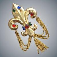 Rare Coro Pegasus Brooch Fleur de Lis Draped Chain