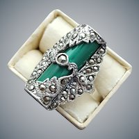 Glorious Sterling Malachite and Marcasite Ring size 6-7/8th