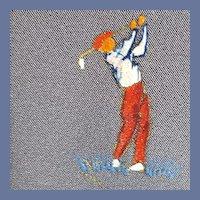 1960s Skinny Necktie Hand Painted Golf Theme