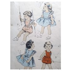 1940s Sewing Pattern Romper Pinafore Dress Size 1