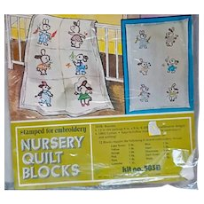 Nursery Quilt Blocks Rabbits to Embroider Mint