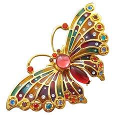 Plique a Jour Butterfly Brooch Swarovski Crystals