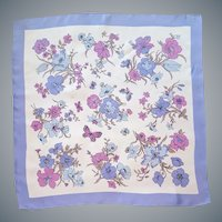 Large Silky Butterfly Scarf Purple Lavender
