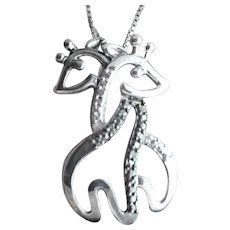 Sterling Silver Double Sweetheart Giraffes Necklace