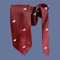 1960s Narrow Necktie Scottish Terrier Dogs England