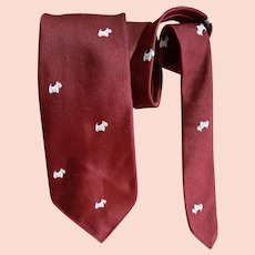 1960s Vintage Narrow Necktie Scottish Terrier Dogs England