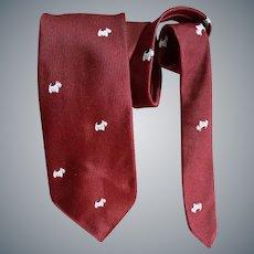 1960s Vintage Narrow Necktie Scottish Terrier Dogs England