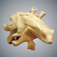 Natural Burl Hand Carved Wood Frog