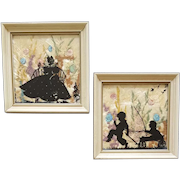 2 Framed Silhouettes 1930s Children and Lovely Lady