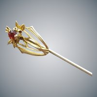 Antique 10k Gold with Ruby Stick Pin Edwardian