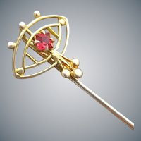 Edwardian Stick Pin Gold Plated With Sparkle